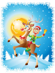 Elf riding reindeer with bell on christmas background
