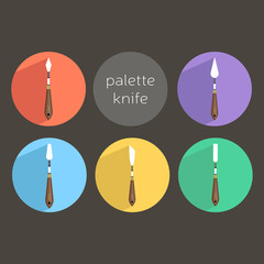icons set of knife palette, art instruments for painting