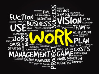 Hand drawn WORK business concept in word tag cloud