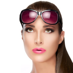Beautiful Model in Red Violet Shades Looking up. Bright Makeup a