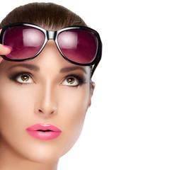 Beautiful Model in Red Violet Shades Looking up. Bright Makeup