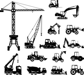 Set of heavy construction machines silhouette icons