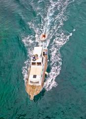 Fishing trawler aerial vertical view