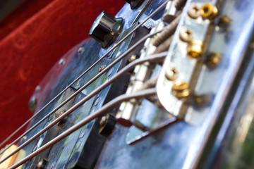 The part of the black bass guitar, photography