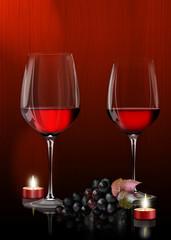 Rotweingläser mit Weintrauben und Teelichter,Candle Light