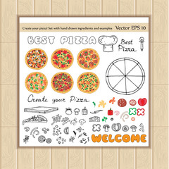 Vector set with hand drawn pizza ingredients and examples
