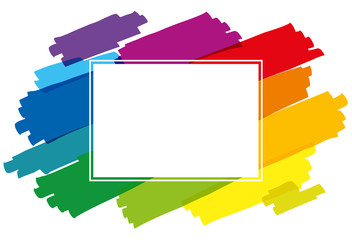 Rainbow Colored Brush Strokes Horizontal