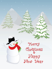 Merry Christmas with Christmas tree and snowman