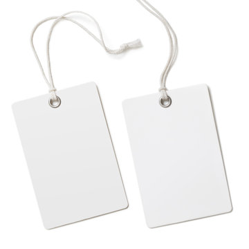 Blank paper label or cloth tag set isolated