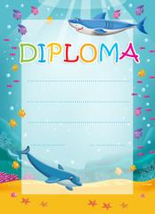 Fototapeta Diploma for children with dolphin and shark obraz