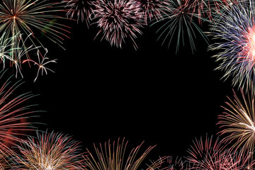 Frame from colorful holiday fireworks with space