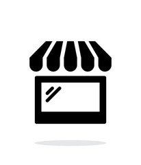 Storefront shop glass case icon on white background.