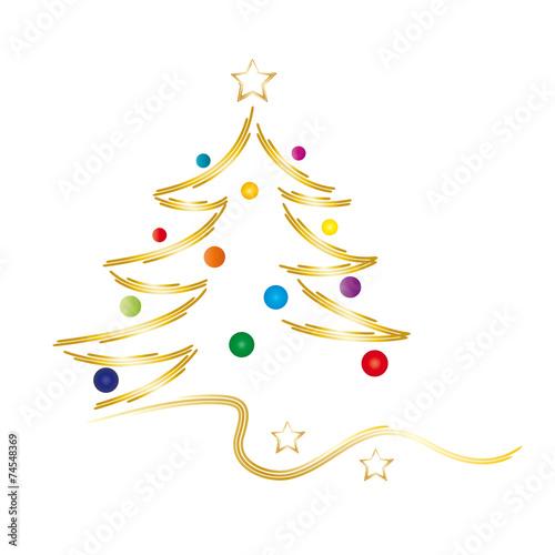 frohe weihnachten goldener weihnachtsbaum mit bunten. Black Bedroom Furniture Sets. Home Design Ideas