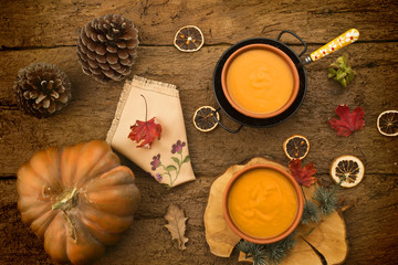 Pumpkin cream on a rustic table