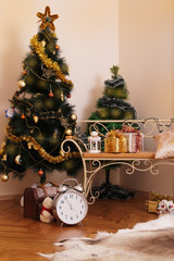 Christmas room golden decoration
