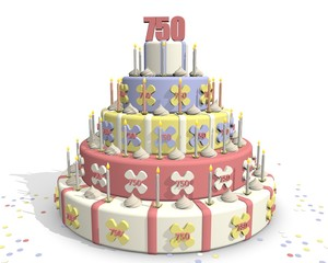 Foto auf Acrylglas Bäckerei Taart met cijfer 750