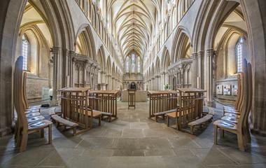 Elegant symmetrical church interior