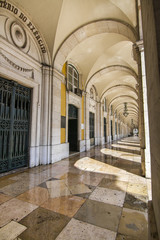 arcades of the Commerce Plaza located in Lisbon