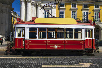 View of the vintage famous red electrical tram