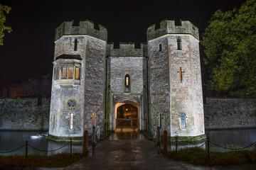 Bishop's Palace Gatehouse at Night