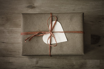 Gift Box with Simple Wrapping and Heart Shaped Label