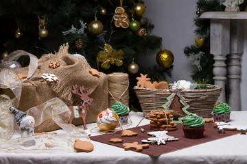 Christmas various gingerbread cookies, cakes, cupcakes.