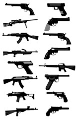 Guns icons set