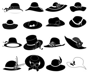 ladies hat icons set