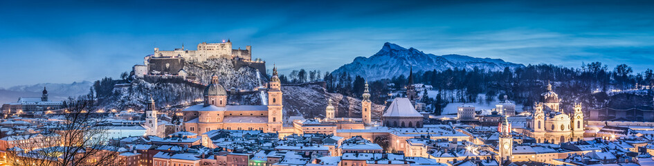 Salzburg winter panorama at blue hour, Salzburger Land, Austria