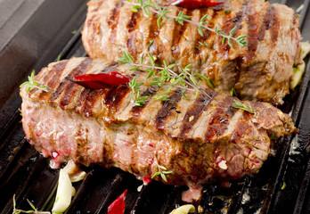 Beef steak on   grill pan