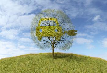 symbol electricity car on tree