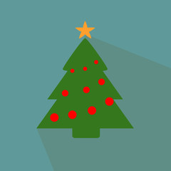 Nice  Christmas tree on the blue background
