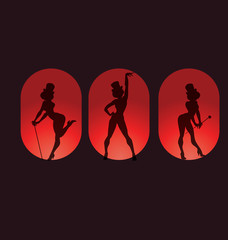 poster design with silhouette cabaret burlesque