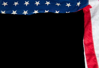 American flag on a black background