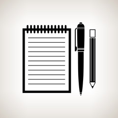 Silhouette notebook on a light background, vector illustration