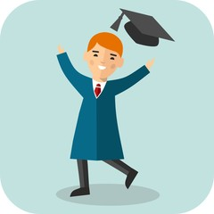 Set of student in graduation gown