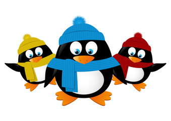 Funny cartoon penguins isolated on white