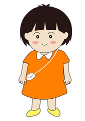 Cute girl stand and smile cartoon