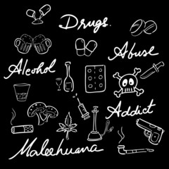 Drug abuse addict icons set words