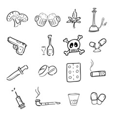 Drugs abuse narcotic drawing icons