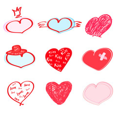 Heart set. Hand drawn, vector illustration