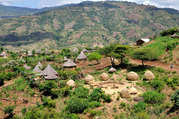 Country of tribe Derashe in Ethiopia