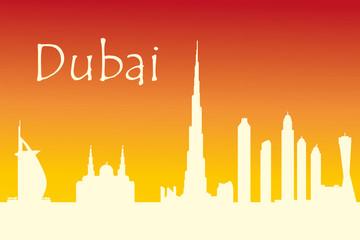 Dubai city skyline silhouette vector illustration