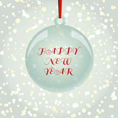 Christmas NewYear greeting card with ball on snowflakes backgrou