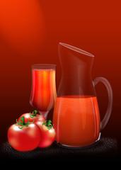 Reife rote Tomaten mit Tomatensaft in Karaffe und Trinkglas