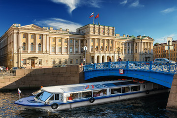 River channel with boats in Saint Petersburg. Summer
