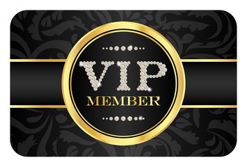 VIP member badge on black card with floral pattern