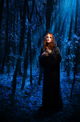 Fototapete - Witch at night forest