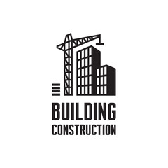 Building construction logo. Crane and building construction.
