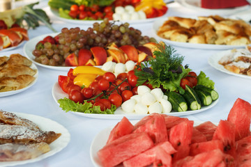 Celebrate banquet table with food
